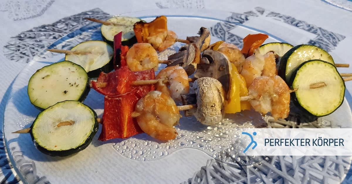 Mediterrane Garnelen-Gemüse-Spieße