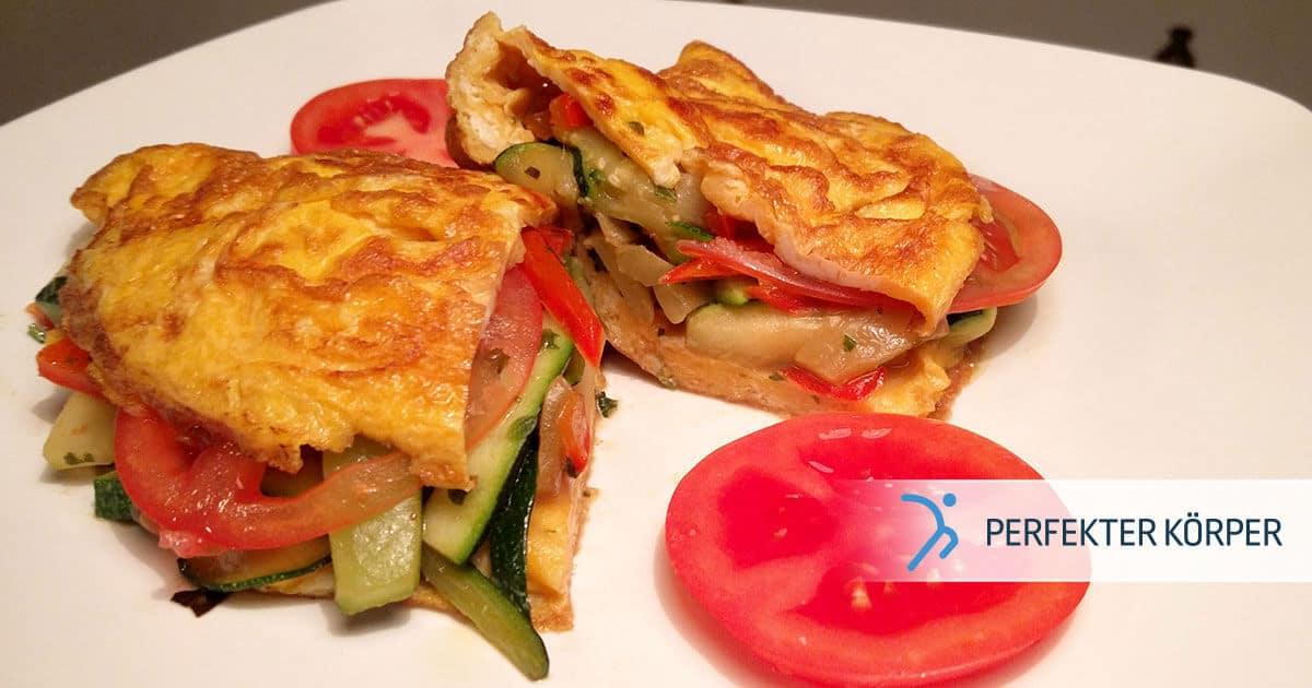 Eier-Omelett mit Gemüse