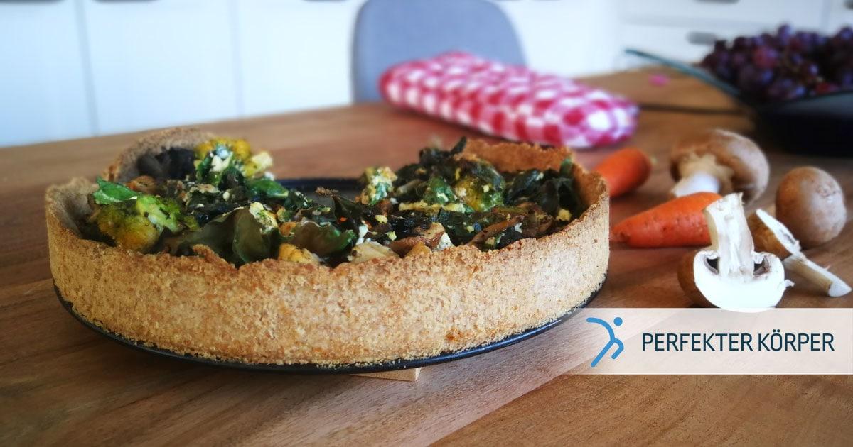 Quiche mit Spinat und Fleisch