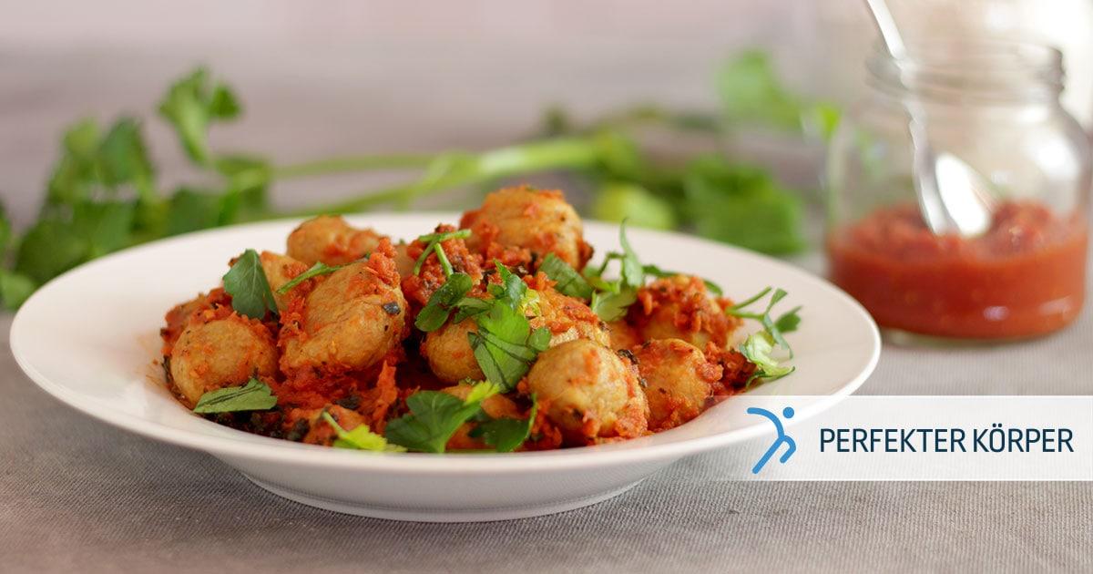 Süßkartoffel-Gnocchi in Tomatensoße
