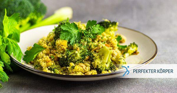 Hirsotto mit Gemüse und Hähnchenfleisch