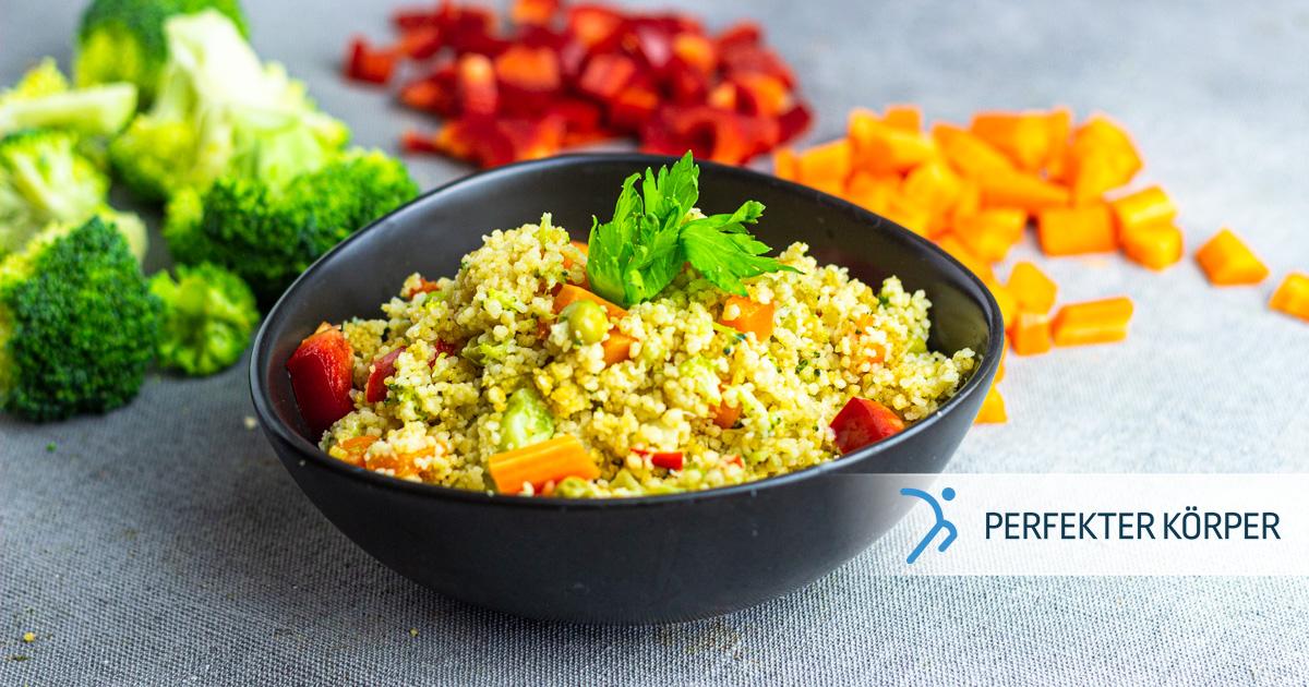 Regenbogen-Couscous mit Gemüse